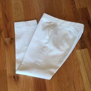 J. Crew white cotton straight leg ankle pants
